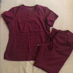 Wine colored medical scrubs